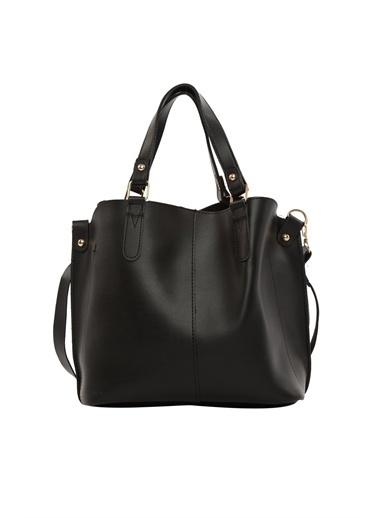 Bagmori Kadın Üç Bölmeli Çıtçıt Detaylı Çanta M000002918 Siyah